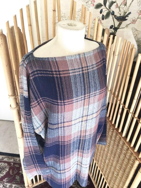 Vintage 80s Norma Kamali Woven Wool Plaid Tunic To