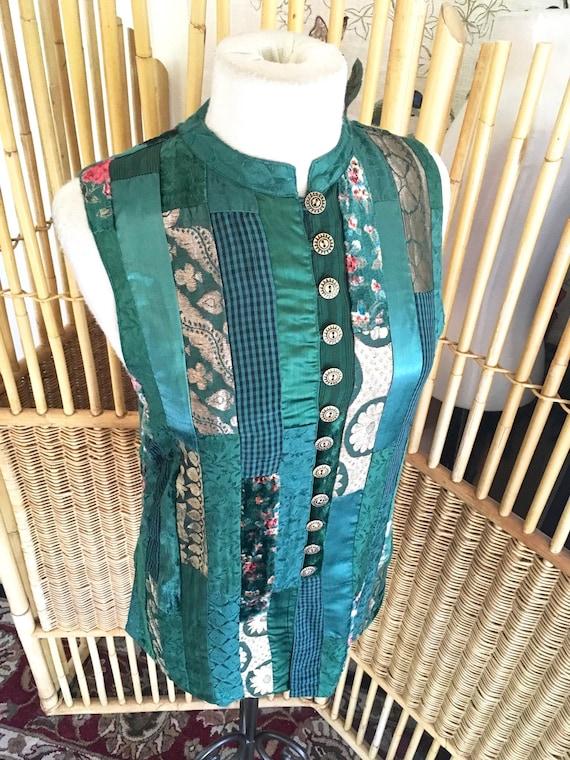 Vintage 70s Green Patchwork Phool Vest
