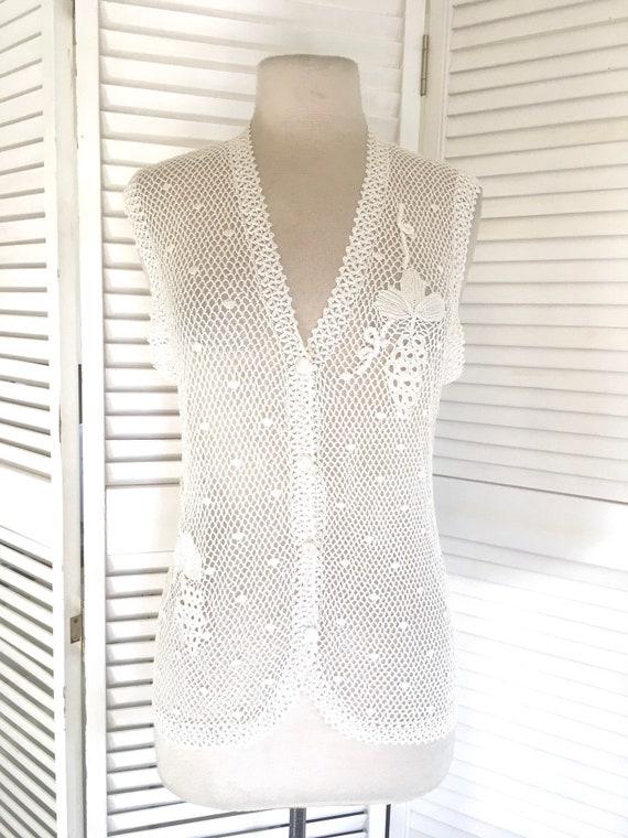 Vintage 70s Crochet Vest Delicate Crochet Vest Lim