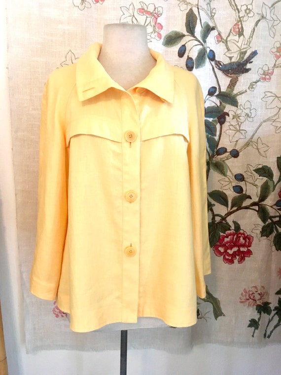 Vintage Lafayette 148 Yellow Linen Jacket