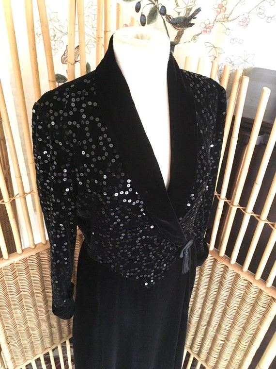 Vintage 80s Black Velvet and Sequin Lounge Robe