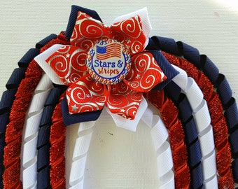 4th of july,Hair bow,hair clip,hair accessories,hair barrette,hair ties,elastic hair ties,fourth of July,red white and blue,flower bow