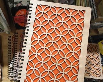 Notebook, sketchbook A5 drawing wood lasr cut Wood Journal