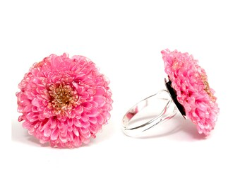 Pink flower ring etsy anniversary gift for her real flower jewelry adjustable ring for her pink dahlia ring floral ring for her pink flower ring gift for sister mightylinksfo