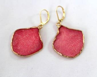 30th birthday gift Leaf earring Best friend 30th birthday gift Pink earrings Dangle earrings Birthday gift for best friend Flower earrings