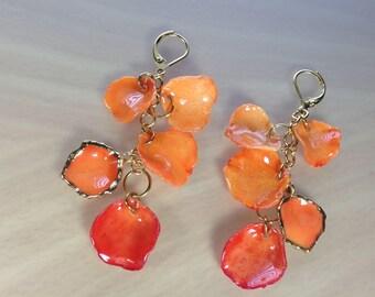 Orange drop earrings Orange dangle earring Orange earrings Orange chandelier earrings Orange long earrings Orange jewelry Gift for women