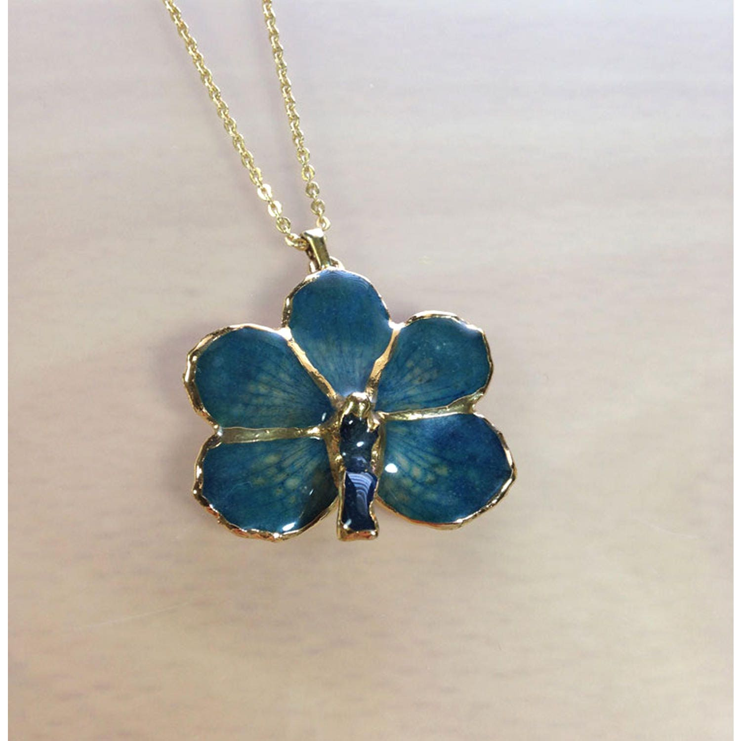 Orchid Trellis New Diamontrigue Jewelry: Orchid Jewelry Orchid Necklace For Women Blue Flower