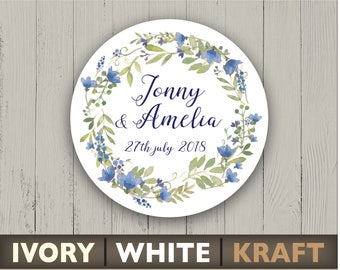 Wedding stickers blue and green floral round labels Personalized circle stickers Flower ornament Custom text envelope seal Summer party