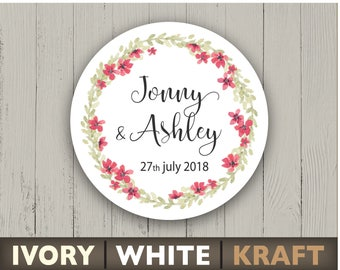 Wedding stickers watercolor floral round labels Personalized circle stickers Flower ornament Custom text envelope seal Summer party