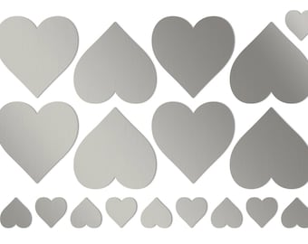 2 inch heart stickers Large silver heart stickers Silver wedding hearts Big heart shaped label Self adhesive heart label