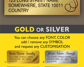 Calligraphy return address labels Personalized address stickers Gold address label stickers Silver return address label Wedding sticker