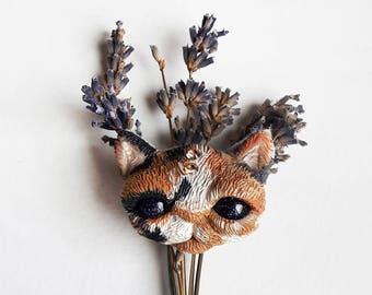 Kitty Cat Brooch + Swarovski crystal