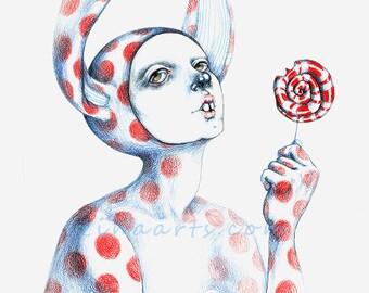 "Original art piece drawing ""Can't resist the lollipop"""