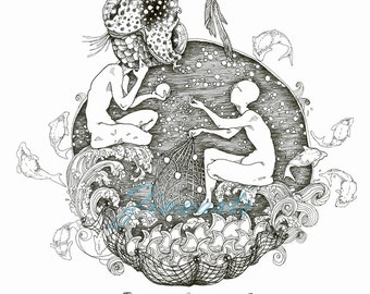 "Original Art Piece Drawing ""The Gold Fish"""