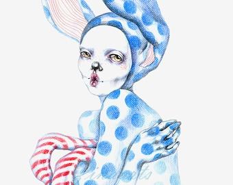 """Original art piece drawing """"Rabbit People - Fish Face"""""""