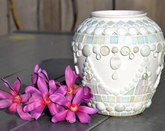 White glass mosaic and ceramic flower vase
