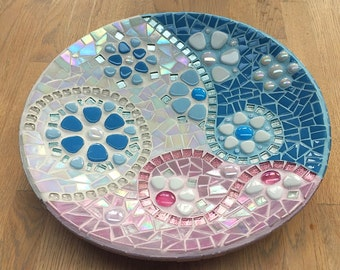 Glass mosaic dish in pink and baby blue on white