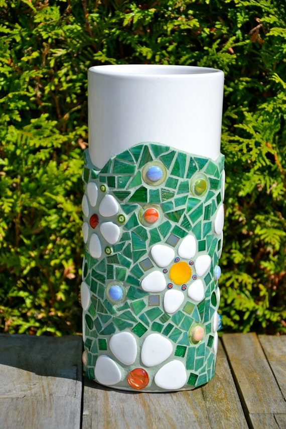 Mosaic Vase Green Glass Flowers Tall White Ceramic Etsy