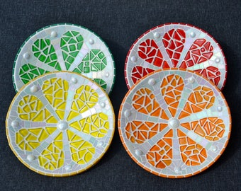Glass mosaic serving display dishes lemon lime and orange soft puzzle glass red orange green and yellow on bamboo base