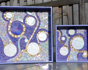 Purple glass mosaic serving trays in purple white and gold
