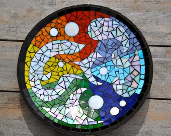 Rainbow mosaic dish stained glass abstract
