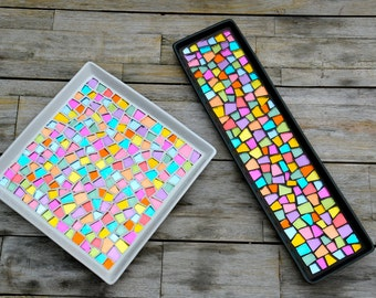 Ceramic trays with colored mirror mosaic set of two white and gray