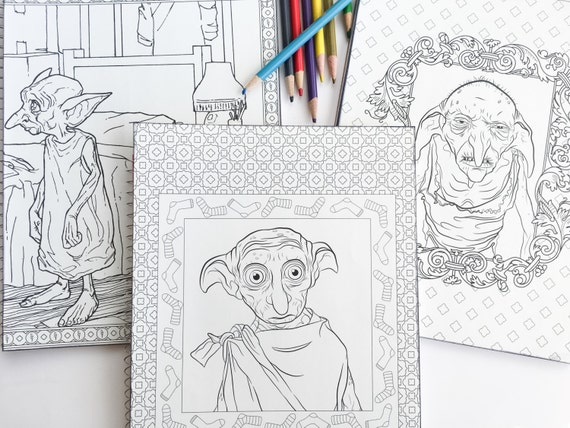 SALE 3 Harry Potter Adult Coloring Book Notebook With Dobby