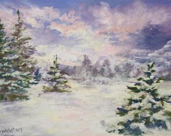 "Early On a Winter's Evening, Original Fine Art, Pastels, Landscape, Winter Scenes, Original Landscape Painting, Gift Idea's Wall Art, 9x12"""