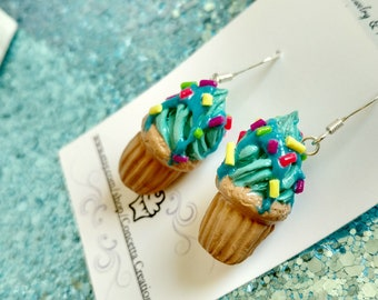 Turquoise Frosted Rainbow Sprinkle Cupcake Earrings
