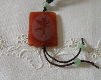 Asian Carved Carnelian and Jade Pendant Necklace with Woven Adjustable Chain - 20 inch