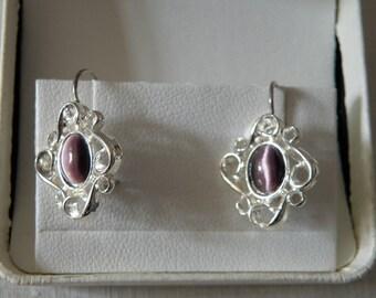 Lovely Sterling Silver Purple Glass Earrings - interwoven infinity design