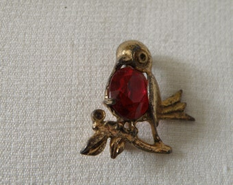 Vintage Sterling Silver Vermeil Robin Red Breast Pin