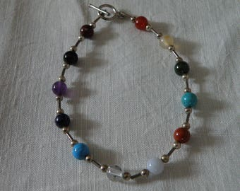 Sweet Gemstone and Sterling Silver Bracelet with Toggle Clasp