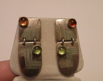 Artisan Sterling Silver Tourmaline Earrings - marked Sterling 925