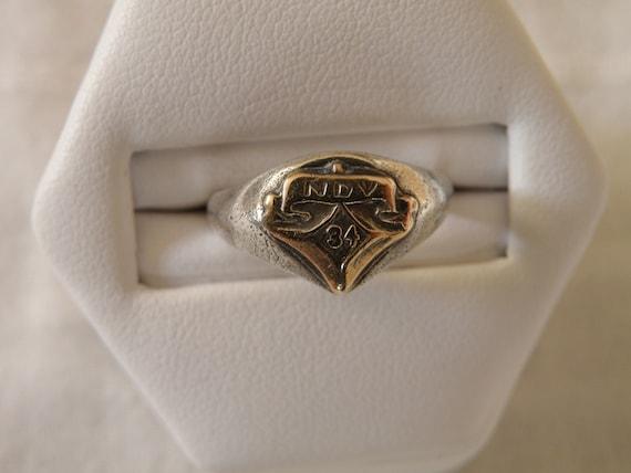 Antique Sterling Silver Signet Ring - Size 5 1/2 U