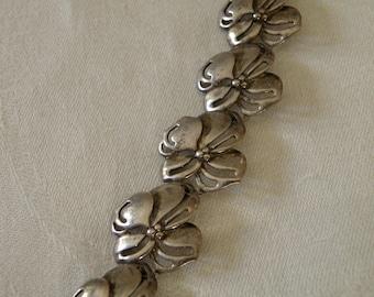 Sterling Silver Floral Bracelet - Signed