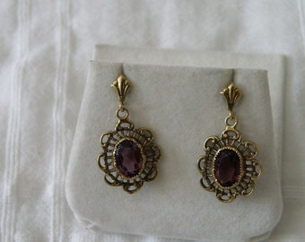 14K Gold Amethyst Earrings - marked 14K