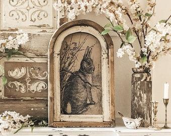 "Bunny Wall Art | 14"" x 22"" | Arch Window Frame | Rabbit Decor | Spring Farmhouse Wall Decor |"