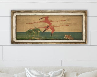 "Flamingo Wall Art | 16"" x 36"" 