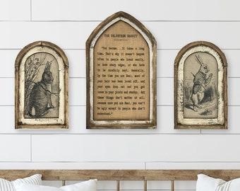 Set of 3 Velveteen Rabbit Wall Decor | Arch Window Frame | Burlap Wall Hanging | Farmhouse Decor |