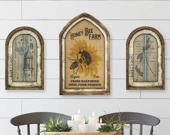 Set of 3 Honey Bee Wall Decor | Arch Window Frame | Burlap Wall Hanging | Farmhouse Decor |