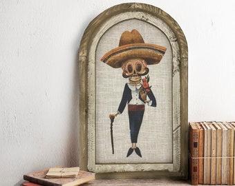 "Dia De Los Muertos Wall Art | 14"" x 22"" |  Day of the Dead Wall Decor | Linen Wall Hanging | Eclectic Skull Decor | Skeleton Decoration"