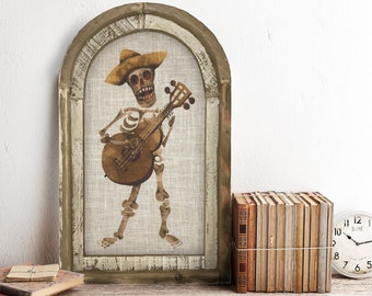 "Day of the Dead Wall Art | 14"" x 22"" | Dia De Los Muertos Wall Decor | Linen Wall Hanging | Eclectic Skull Decor | Skeleton Decoration"
