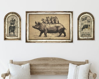 Set of 3 Farmhouse Wall Decor I Rustic Wall Art I Primitive Farm Decor