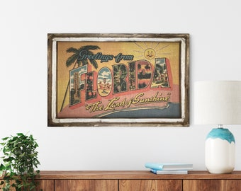 "Florida Postcard Wall Art | 24"" x 36"" 