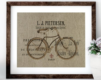 French Bike Linen Print for Framing, Bike Wall Art