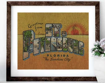 St. Petersburg Linen Print for Framing, Florida Artwork, St. Pete Postcard