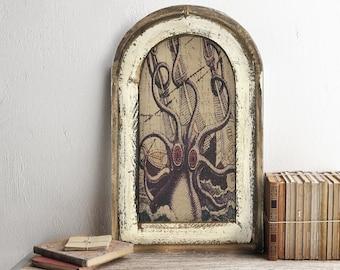 """Octopus Wall Art   14"""" x 22""""   Arch Window Frame   Linen Wall Hanging   Coastal Decor  """