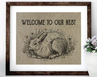 Our Nest Linen Print for Framing, Rabbit Artwork