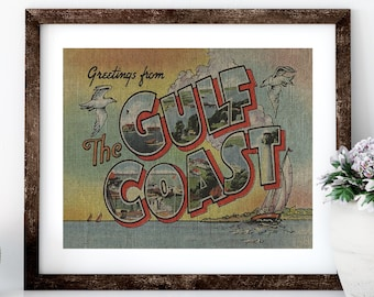 Gulf Coast Linen Print for Framing, Florida Artwork, Postcard